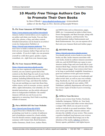 10 Mostly Free Things Authors Can Do to Promote Their Own Books
